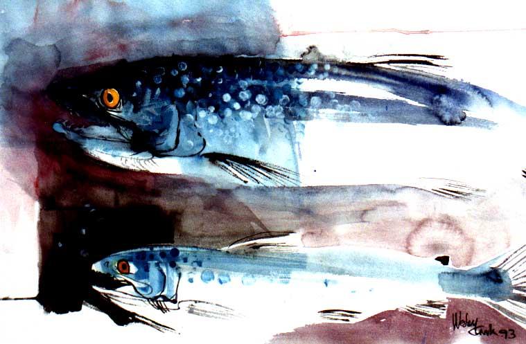 Bluebacks / watercolour  Actual size=180 pixels wide